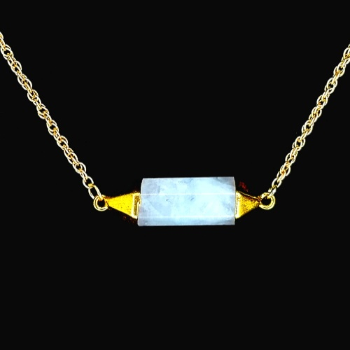 Gold White Quartz Necklace